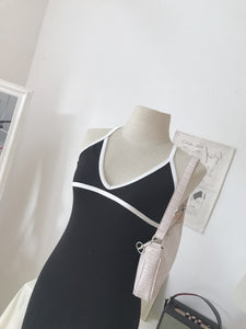 BLACK KNITTED SINGLET DRESS (4424727429195)