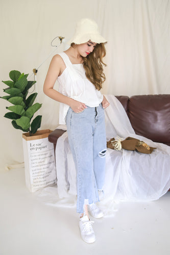 RIPPED HEM WIDE LEG WASHY BLUE JEANS
