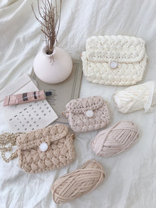 HANDMADE KNITTED BAG in MILKTEA (4435827556427)