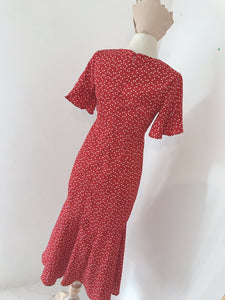 KOREAN LOVE PRINTED MAXI DRESS in RED