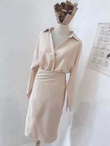 SELF WRAP DRESS in CREAMY BIEGE