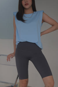 SHU SHOULDER PAD TANK TOP IN BLUE