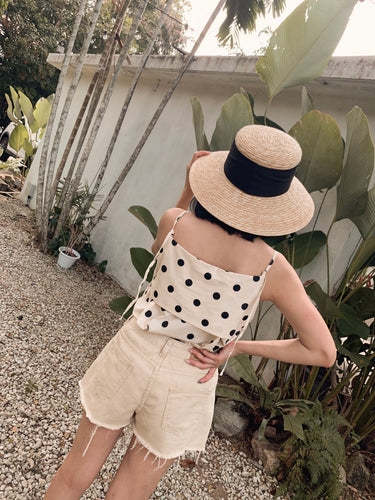 LINI POLKADOT SLEEVELESS TOP CREAM WHITE