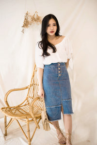 ELLIE VINTAGE BUTTON DENIM MIDI SKIRT BLUE