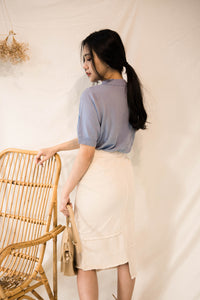 ELLIE VINTAGE BUTTON DENIM MIDI SKIRT WHITE (753024892963)