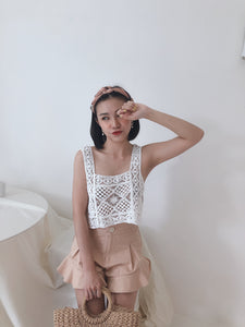 KNIT CROCHET TOP IN WHITE