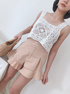 HIGHWAIST PEPLUM LETTUCE EDGE PANTS IN MILKY PEACH