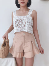 HIGHWAIST PEPLUM LETTUCE EDGE PANTS IN CREAM (1817553960995)