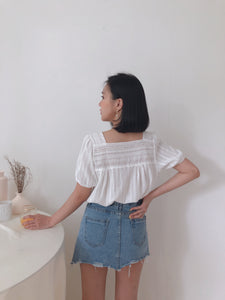 SQUARE NECK LACE TOP IN WHITE