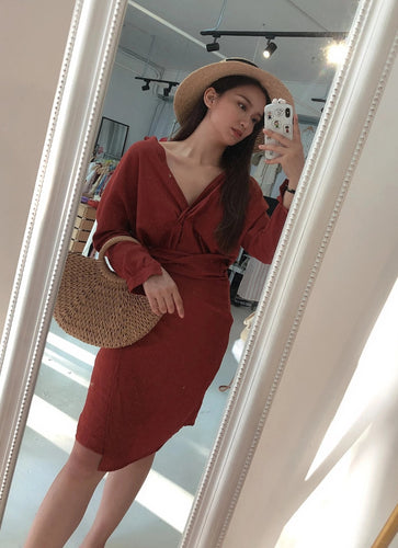 SELF WRAP DRESS in BRICK RED