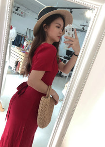KOREAN RIBBON MAXI DRESS in RED