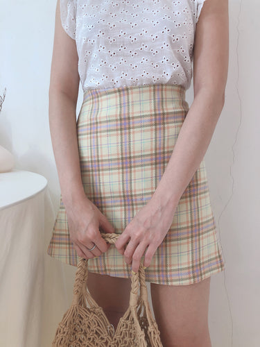 CHECKERED A LINE SKIRT YELLOW
