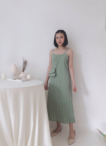 MILLE AVOCADO POLKADOT DRESS (1726005936163)