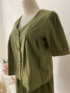 ARMY GREEN TOP + BOTTOM SET (4386306293835)