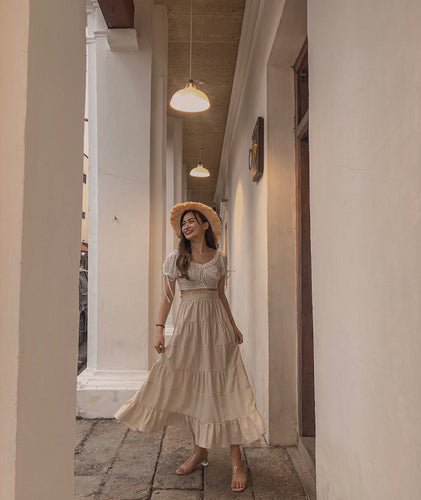 JULIET RUFFLE LINEN SKIRT in CREAM #UQMADE (4422015582283)