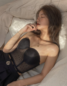 Luèur SHEER DOT BLACK BUSTIER