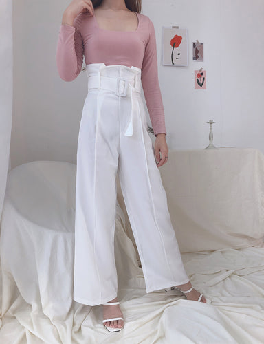JILI COMFY CULOTTE WITH BELT WHITE (UQMADE)