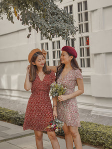 CNY KOREAN FLORAL DRESS in MAROON (4428977078347)