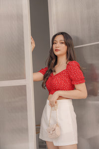 SHORT SLEEVE FLORAL TOP in RED (4428997066827)