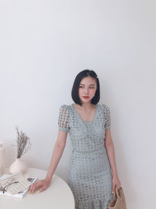 CROCHET LACE SET MILKY MINT蕾丝镂空套装