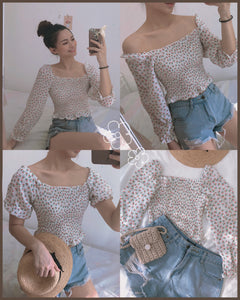 Off Shoulder Jiny Floral LS Top