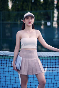 TENNIS PLEATED SKORT-BROWN