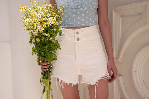HAWTY HIGH WAIST SHORT PANT-WHITE