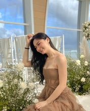 ANJO RUFFLE GOWN in BROWN *READY STOCK*