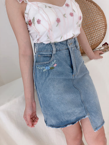 FLORAL LINE GEOMETRIC DENIM SKIRT (1392773201955)