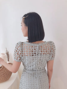 CROCHET LACE SET MILKY MINT蕾丝镂空套装 (1740506300451)