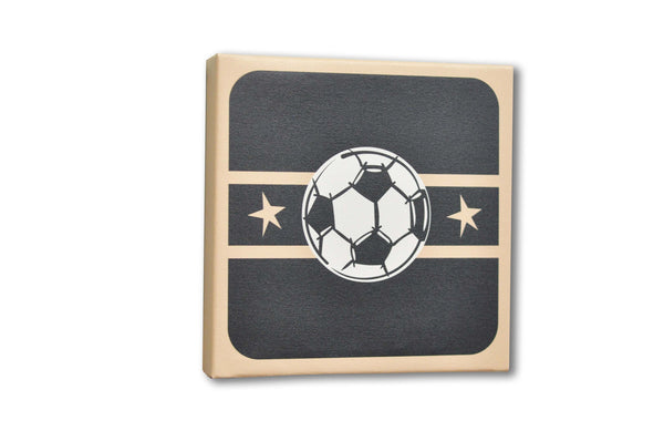 Soccer Black And Tan Canvas Wall Art Boys Sports Themed