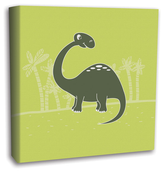 Green Dinosaur Boys Room Canvas Wall Art Decor