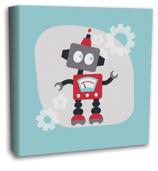 blue robot boys room decor canvas art