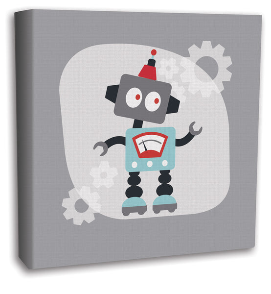 Gray modern retro robot canvas art - boys room decor