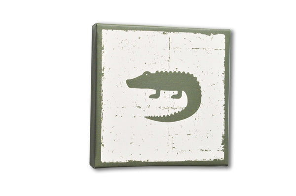 Green Crocodile Stretched Canvas Wall Art for Kids