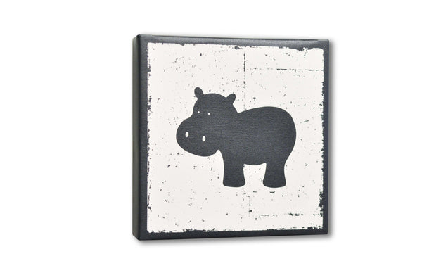 Gray Hippo Canvas Wall Art Digital Print