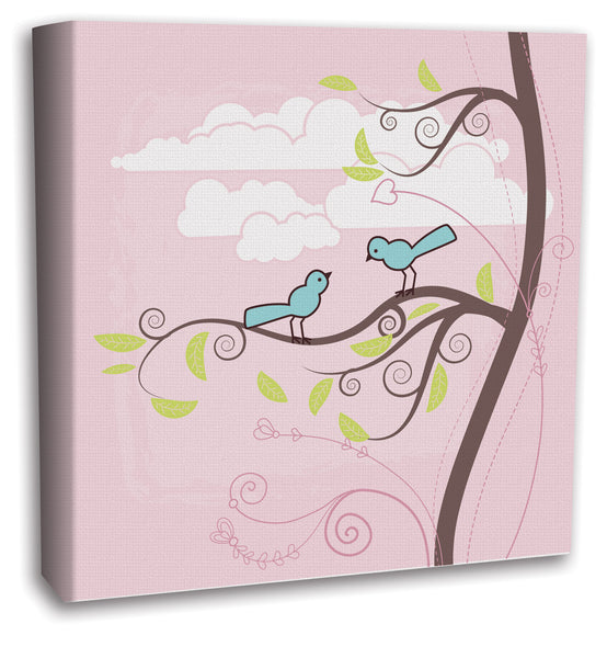 Pink Canvas Wall Art with Teal Birds and Tree, White Clouds