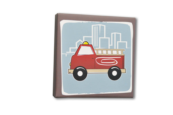 Firetruck Canvas Art, firetruck themed room decor with cityscape