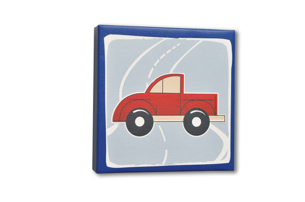 Truck Canvas Art, blue, red, white