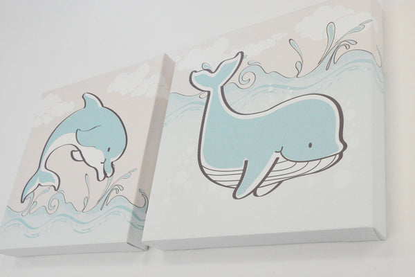 Dolphin and Whale Kids Bathroom Canvas Art