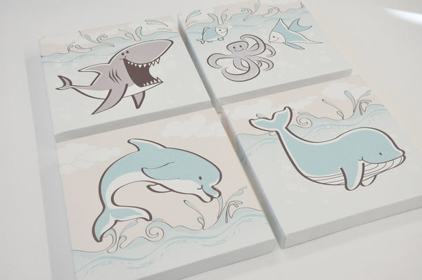 Kids Ocean Sea Creature Canvas Art set of 4
