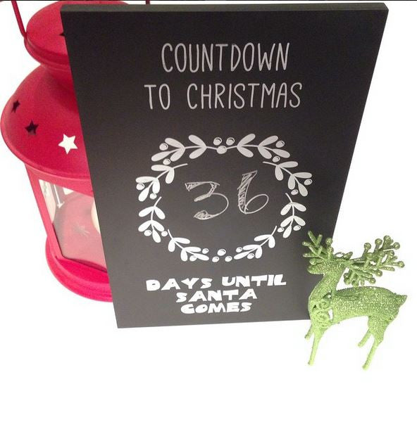 Christmas countdown black chalkboard Days until Santa Comes