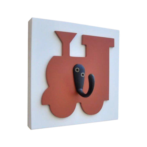Train Wall Hook, orange. Organize kids rooms with wall hooks. Transportation theme
