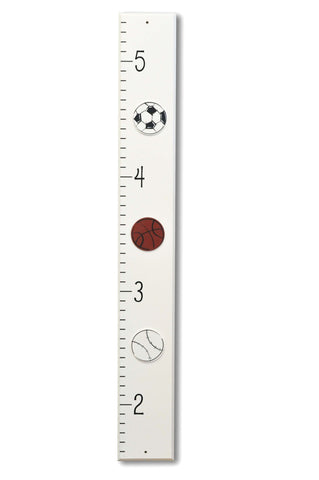 Sports theme wood Growth Chart measuring stick, boys room decor