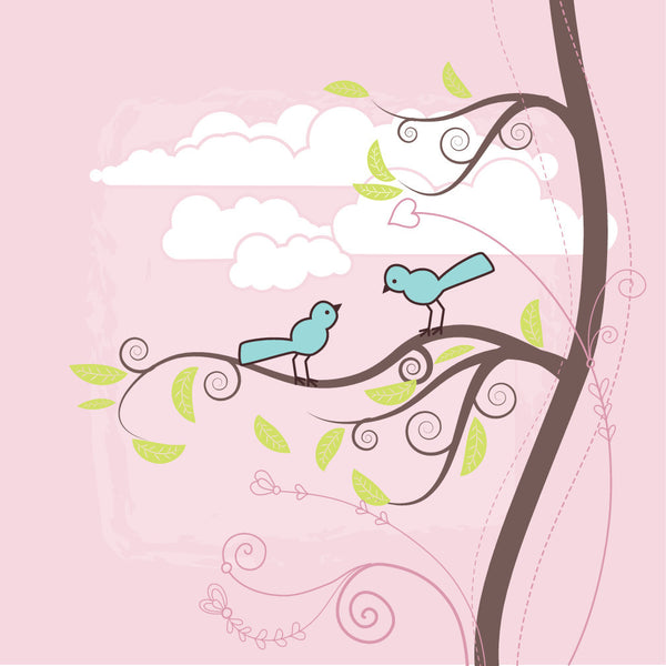 Teal Harmony Birds and Tree, Pink Canvas Wall Art