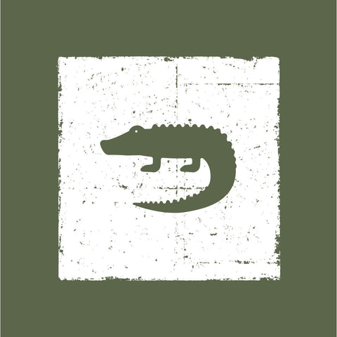 Green Crocodile Canvas Wall Art