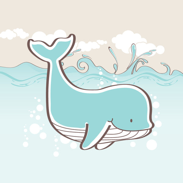 Light Blue Whale Ocean Themed Kids Canvas Wall Art