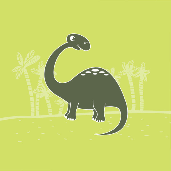 Brontosaurus Dinosaur theme  canvas art, boys room, green