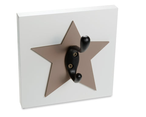 Star Wall Hook, nursery and kids room wall decor, brown