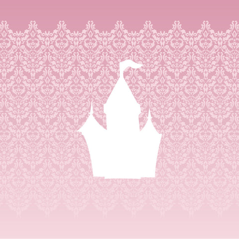 White Princess Castle Pink Damask Canvas Art, Girls room